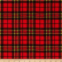 Plaid Design by Flannel Scottie Plaid Red Discount Designer Fabric