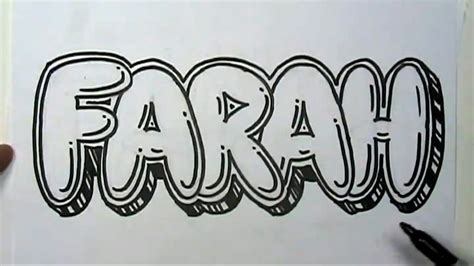 draw graffiti letters write farah  bubble