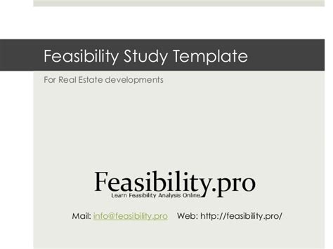 Feasibility Study Template Feasibility Template