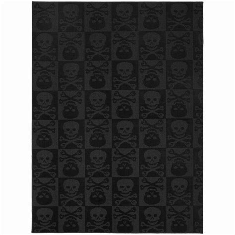 Large Black Area Rugs Garland Rug Skulls Black 7 Ft 6 In X 9 Ft 6 In Area Rug Cl 14 Ra 7696 15 The Home Depot