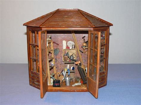 doll house shed miniature dollhouse room box vignette artist created reutter germany shed garden ebay