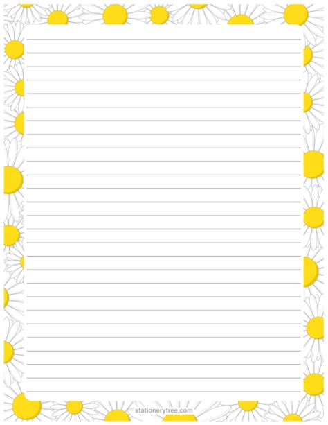 printable stationery nz printable daisy stationery and writing paper free pdf
