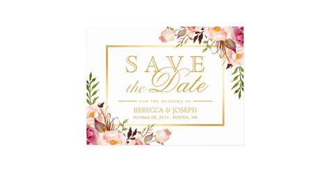 Chic Floral Orange And Thanksgiving Place Cards Template by Save The Date Chic Pink Floral Gold Frame Postcard