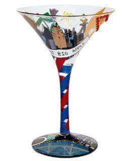 barware nyc skyy vodka cosmopolitan martini glass cobalt blue trim