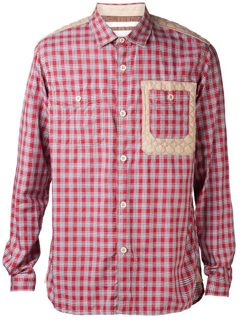 pattern on white shirt white mountaineering plaid pattern shirt in red for men lyst