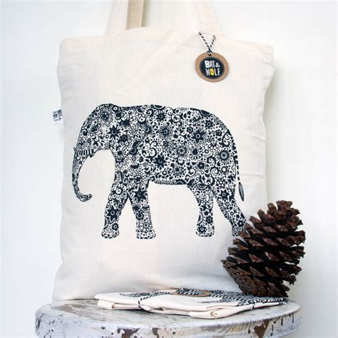 screen printed indian elephant book bag by bat wolf