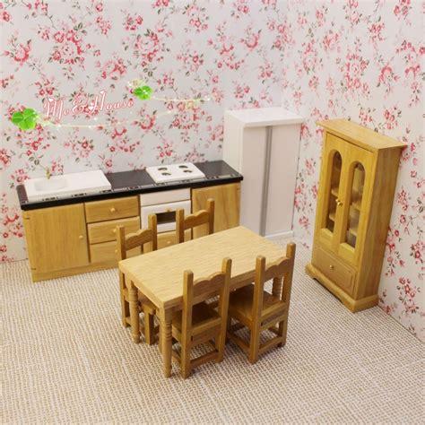 miniature dollhouse kitchen furniture 1 12 dollhouse wooden kitchen set 8 pcs ebay