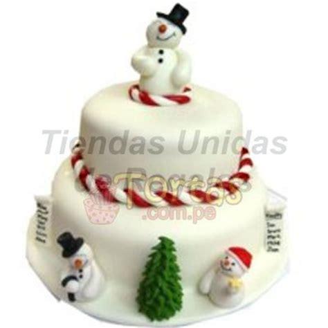 torta de 2 pisos muecos de nieves