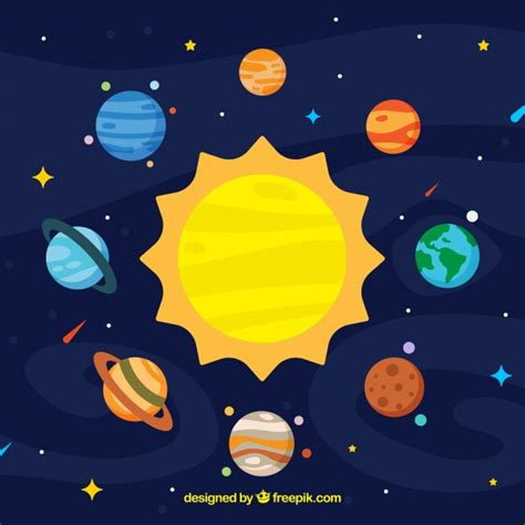 colorful sun sun background and colorful planets in flat design vector