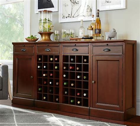 pottery barn red bar cabinet modular bar buffet with 2 wine grid bases 2 cabinets