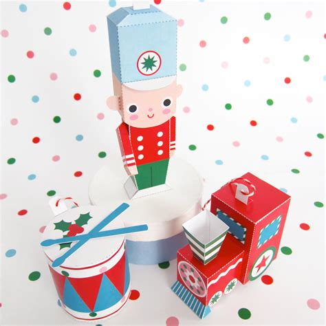 toy soldier train drum ornaments printable paper