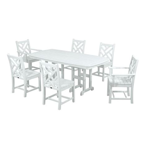 White Patio Dining Sets Polywood Chippendale White 7 Plastic Outdoor Patio Dining Set Pws121 1 Wh The Home Depot