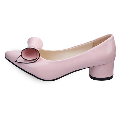 fashionable pointed toe bowknot pu leather low heel shoes