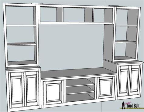 entertainment center pb media center plan bookshelves