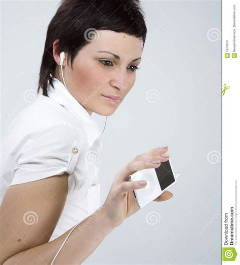 that girl mp girl with mp3 player stock photos image 5479413