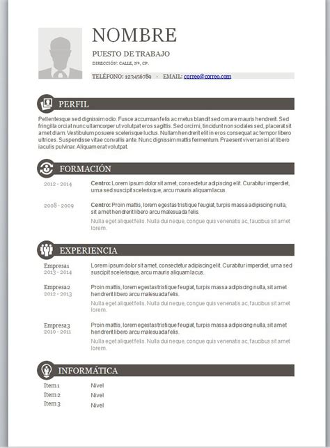 Plantillas De Curriculum Vitae Word Con Foto Modelos De Curriculum Vitae En Word Para Completar