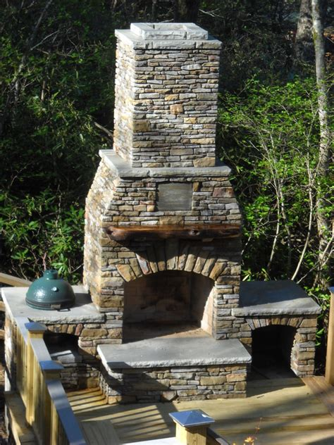 Outdoor Fieldstone Fireplace by Living Masonry Living Masonry Asheville Nc