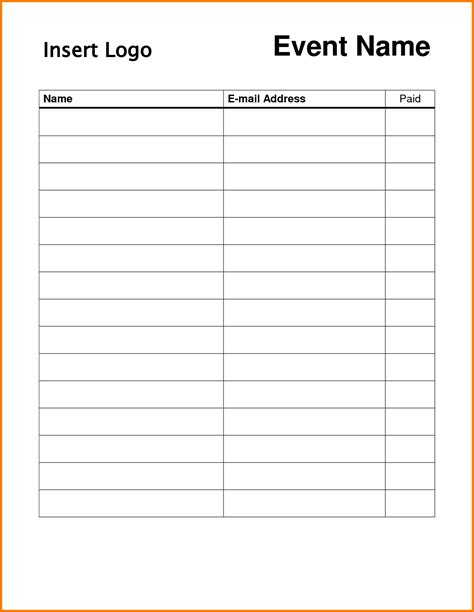 idea sheet template free printable sign in sheet template
