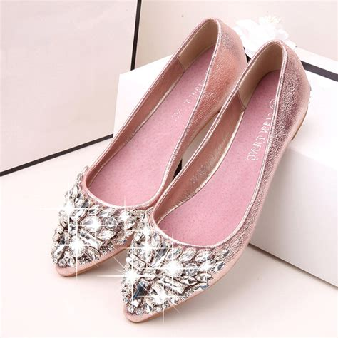 flat wedding shoes with bling 2017 new fashion single shoes bling rhinestone wedding