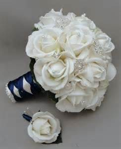 silk bridal bouquet silk flower bridal bouquet real touch roses rhinestone white navy blue 2060610 weddbook