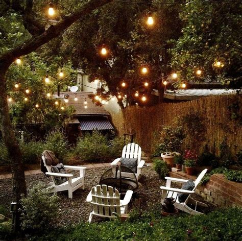 back yard party outdoor room ambience globe string lights patio