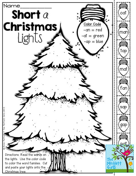 interactive coloring pages christmas short vowel christmas lights color cut and paste tons