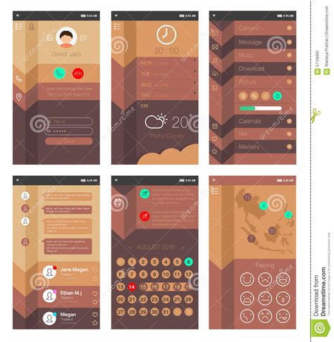 template for mobile app design stock vector illustration