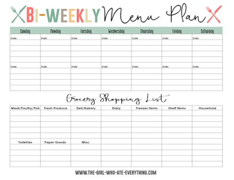 bi weekly meal planner template menu plans and shopping list printables the who ate