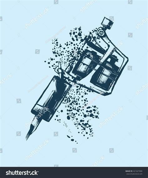 tattoo machine silhouette vector tattoo machine vector illustration on blue stock vector