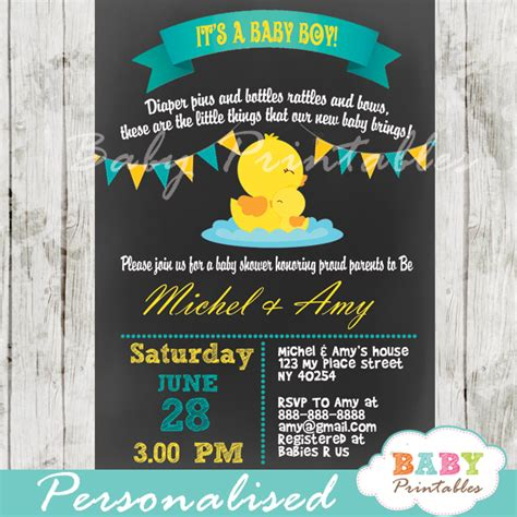 Rubber Ducky Themed Baby Shower Invitation Wording by Chalkboard Rubber Ducky Baby Boy Shower Invitation D140