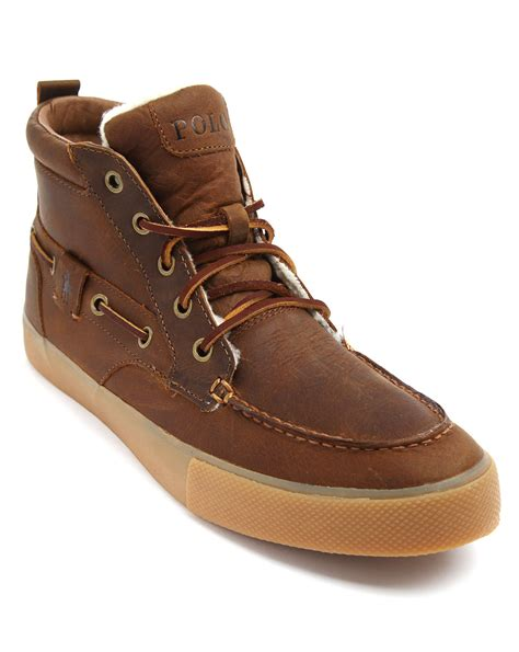 polo leather sneakers polo ralph tristen lined camel leather sneakers in