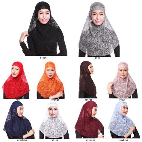 Yika Islamic Muslim Cover Inner Caps Split Longundersc lace muslim cover inner cap islamic scarf 2pcs set