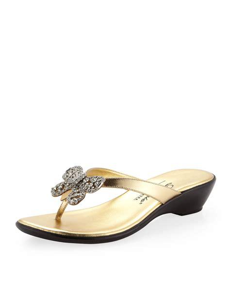 rhinestone wedge sandals dezario flutter rhinestone bow wedge sandal gold in gold