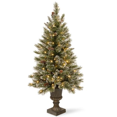 bristle table christmas tree with picks cones green national tree company 5 ft glittery bristle entrance