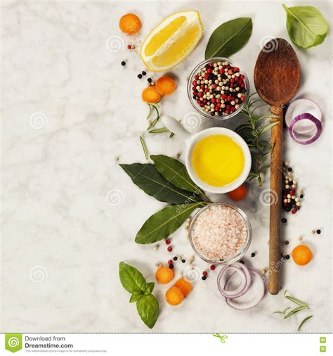 what is flower food wooden spoon and ingredients on marble background stock