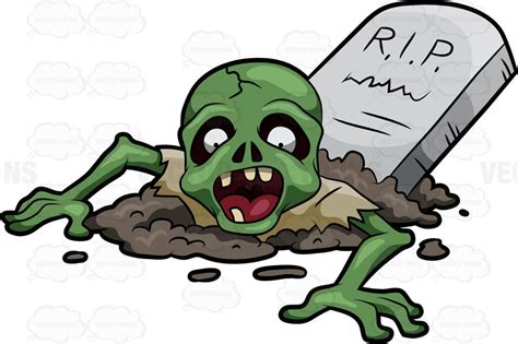 clipart zombie a zombie raised from his grave clipart by vector toons