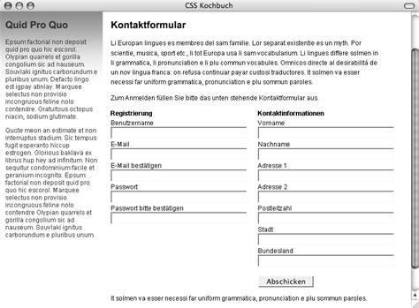 zweispaltiges layout css data2type gmbh css zweispaltige formulare ohne tabellen