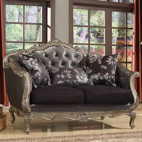 ACME Chantelle Loveseat in Antique Platinum & Silver Gray Silk Like Fabric for $1,198.40 in