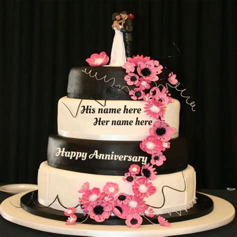 write  couple   happy wedding anniversary cake pic