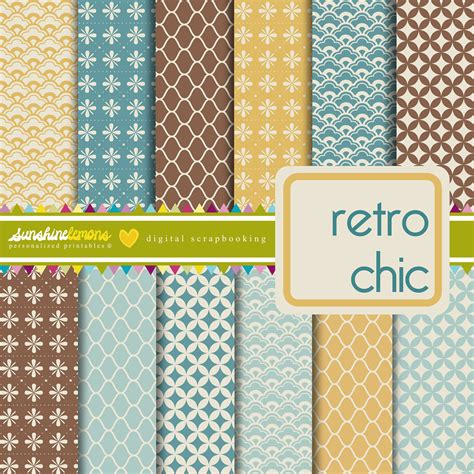 pattern paper etsy retro chic vintage patterns digital scrapbooking set