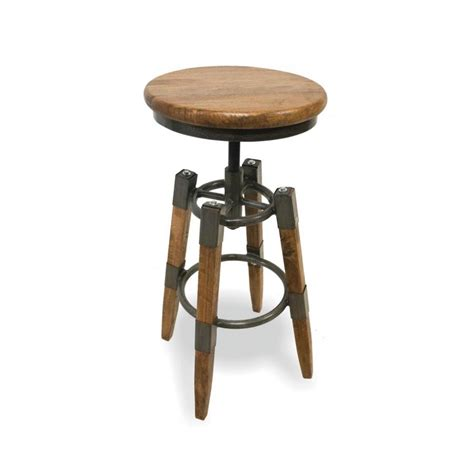 industrial swivel stool  wood seat