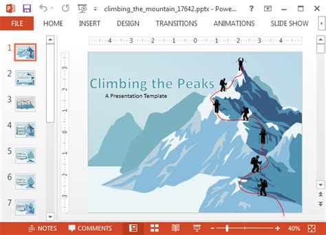 powerpoint templates free mountains animated climbing the mountain powerpoint templates