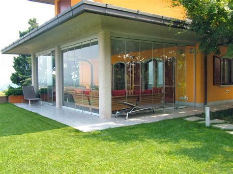 patio closed with folding glass doors water and airproof