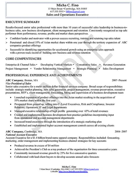 Resume Sle Of Executive Resume For Sales Executive Sales Sales Lewesmr