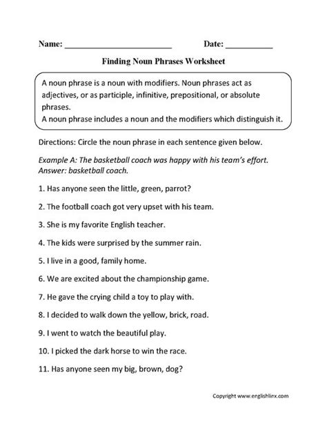 Nouns Worksheet by Noun Phrases Worksheets Englishlinx Board