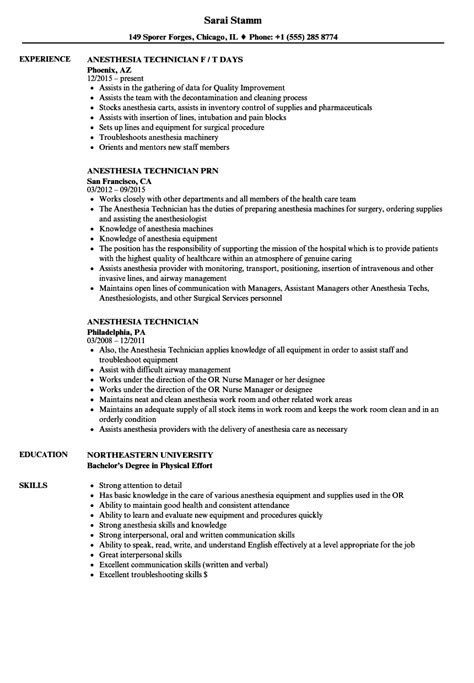 Anesthesiology Technician Sle Resume by Anesthesia Technician Resume Sles Velvet