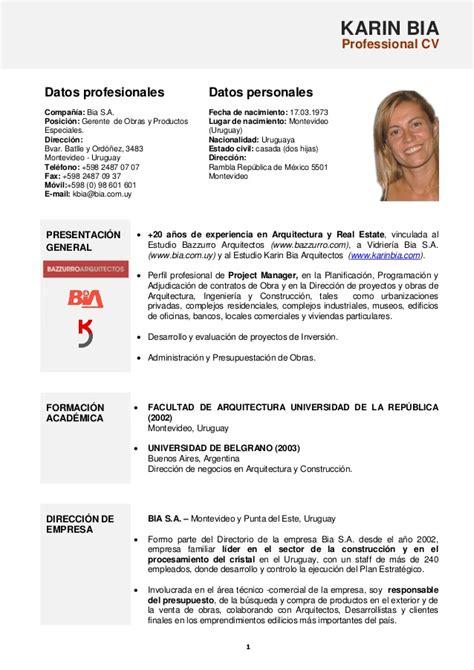 Modelo Curriculum Vitae Argentino Karin Bia Cv Mayo 2013