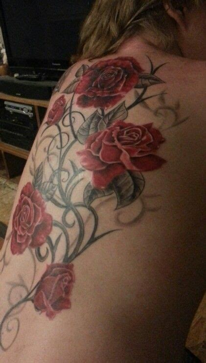 red rose vine tattoo vine pink instead of side of thigh