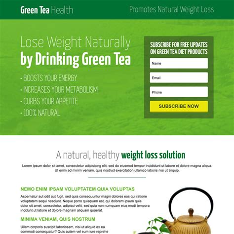 buy landing page templates green tea modern lead capture landing page design