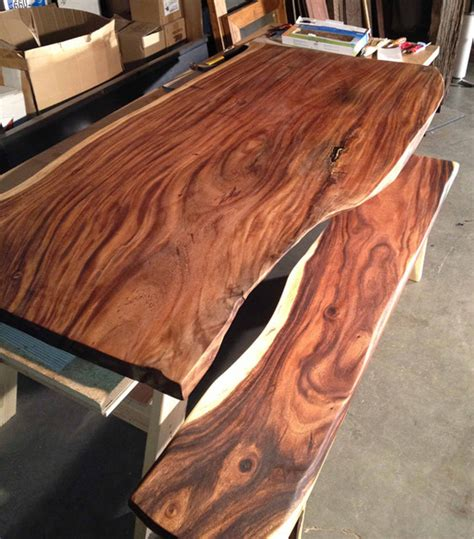 modern wood slab dining table reclaimed edge monkeypod wood slab table custom